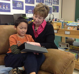 Kathy Cassidy with a student