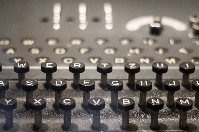 Detail from the Enigma machine on display at the International Spy Museum