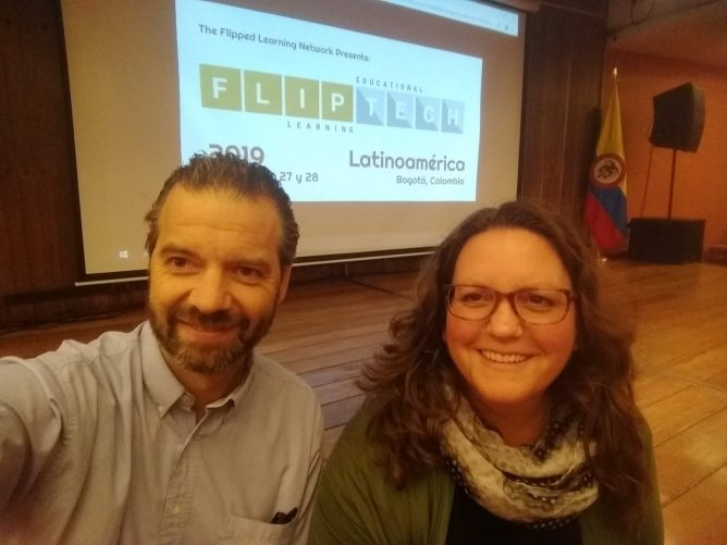 Ken with Kate Baker at a pre-conference workshop at ÚNICA for FlipTech Latin America 2019